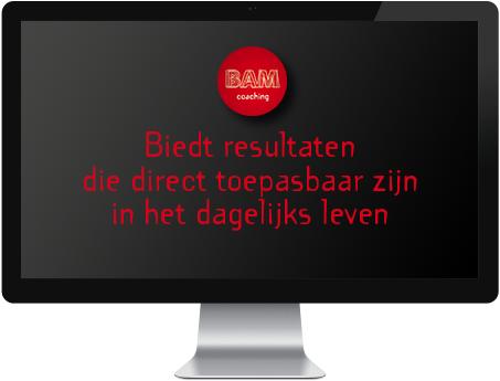 Biedt resultaten die direct toepasbaar zijn in het dagelijks leven - BAM Coaching Amsterdam - Beeldscherm met tekst BAM